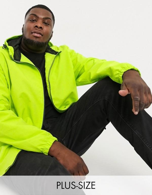 ジャカモ メンズ ジャケット・ブルゾン アウター Jacamo lightweigtht jacket with hood in lime green Lime