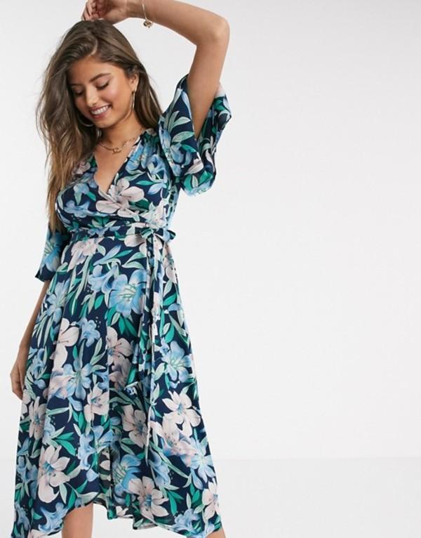 リクオリッシュ レディース ワンピース トップス Liquorish midi wrap dress in navy and pink floral Blue