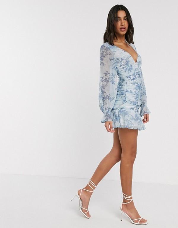エイソス レディース ワンピース トップス ASOS DESIGN ruched bodice mini dress in blue floral print Blue floral print