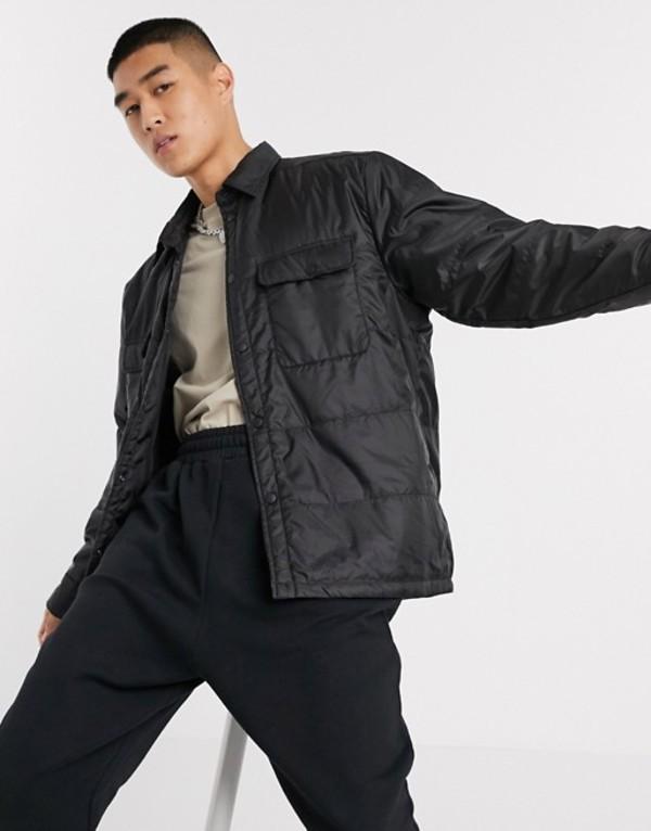 ウィークデイ メンズ ジャケット・ブルゾン アウター Weekday Jamie padded overshirt jacket in black Black
