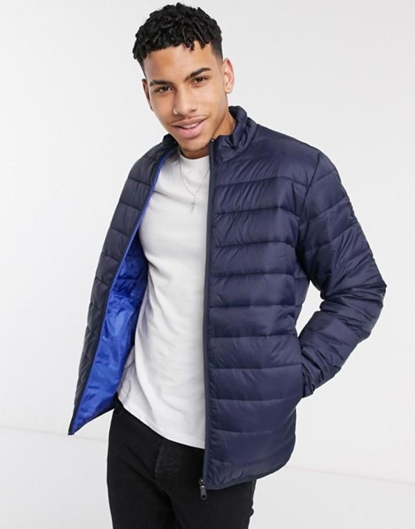 ジャック アンド ジョーンズ メンズ ジャケット・ブルゾン アウター Jack & Jones Essentials puffer jacket with stand collar in navy Navy blazer