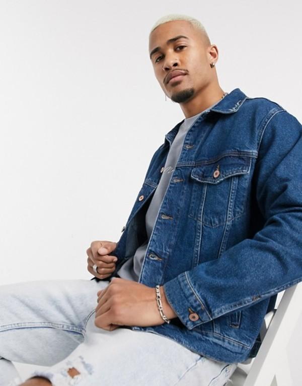 メニス メンズ ジャケット・ブルゾン アウター Mennace signature logo collar denim jacket in blue Blue