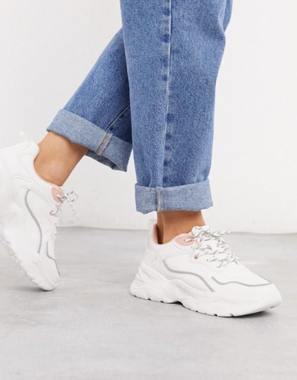 ベルシュカ レディース スニーカー シューズ Bershka chunky sneaker with gray and pink piping in white White