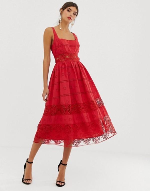 エイソス レディース ワンピース トップス ASOS DESIGN square neck midi prom dress in broderie with lace insert Red