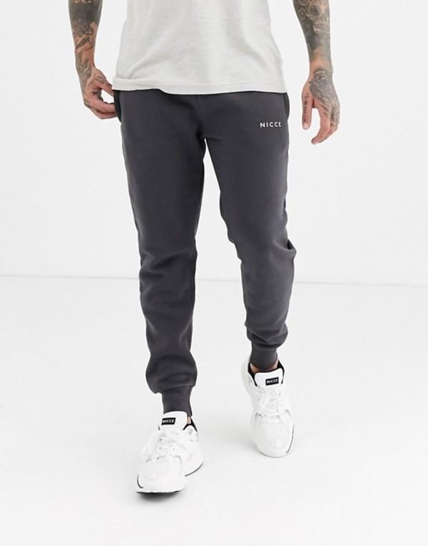 ニッチェ ロンドン メンズ カジュアルパンツ ボトムス Nicce sweatpants with logo in charcoal Gray