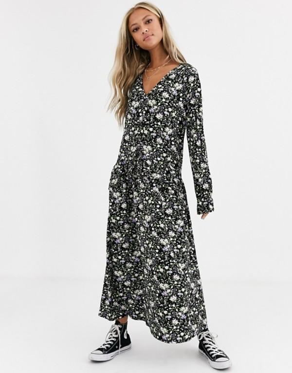 エイソス レディース ワンピース トップス ASOS DESIGN v neck maxi dress in black floral print Black floral