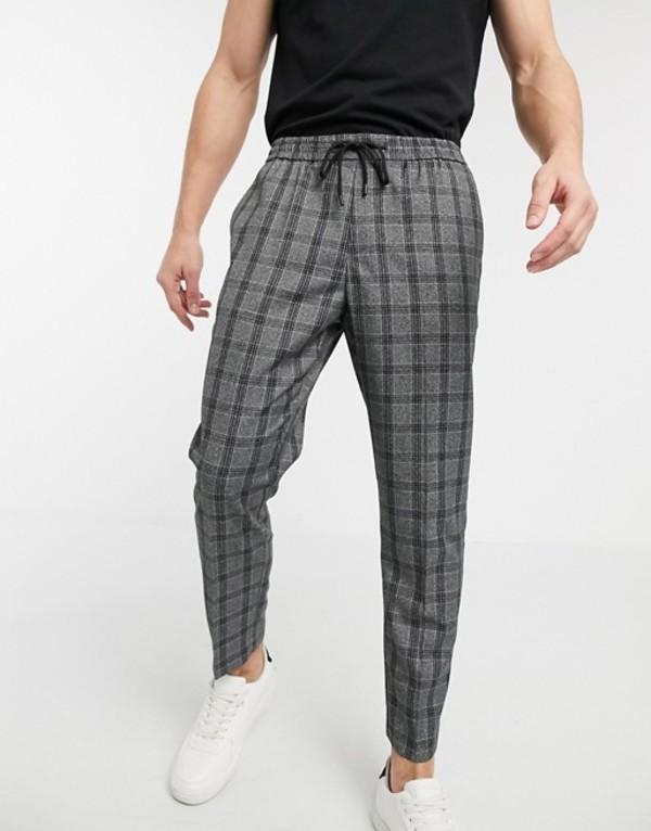 ニュールック メンズ カジュアルパンツ ボトムス New Look prince of wales check smart sweatpants in dark gray Dark gray