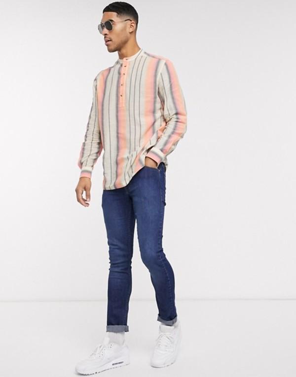 エイソス メンズ シャツ トップス ASOS DESIGN regular fit vintage stripe shirt with grandad collar Orange