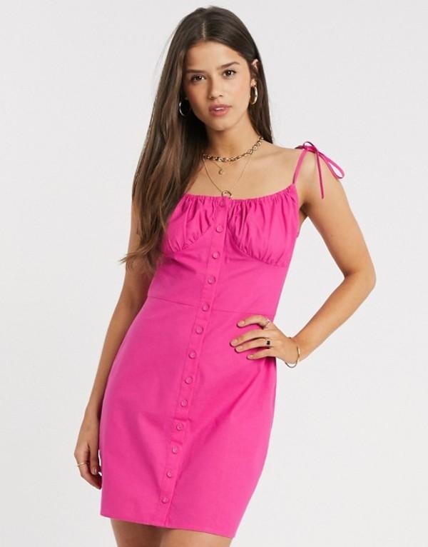 ファッションモンキー レディース ワンピース トップス Fashion Union button front mini dress with tie detail Hot pink