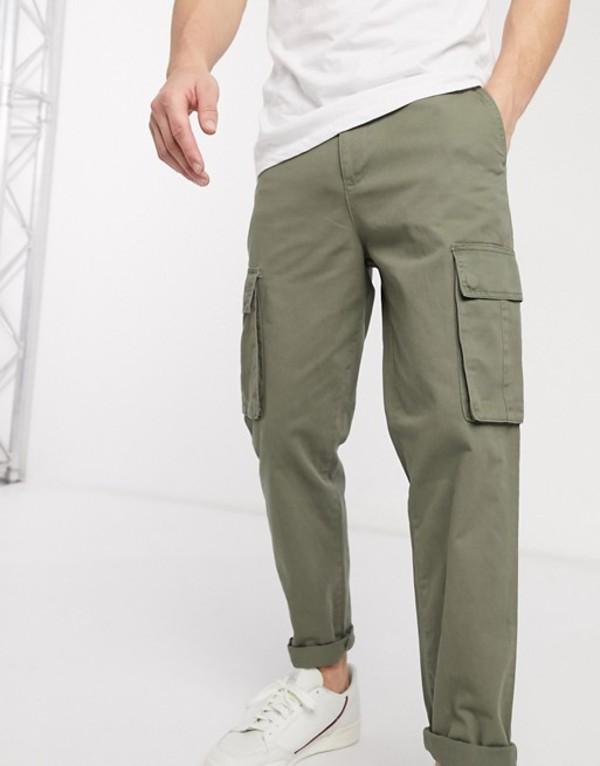 ニュールック メンズ カジュアルパンツ ボトムス New Look cargo pants in khaki Green