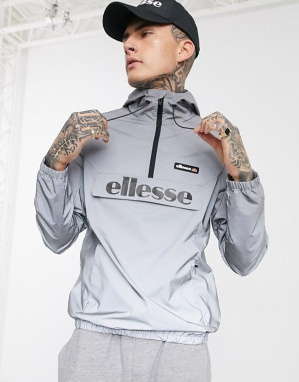 エレッセ メンズ ジャケット・ブルゾン アウター ellesse Berto reflective half-zip jacket in gray Reflective