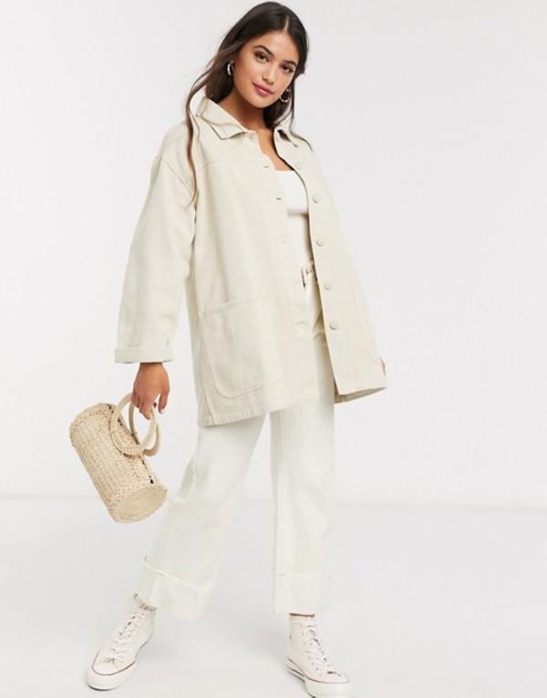 プルアンドベアー レディース ジャケット・ブルゾン アウター Pull&Bear oversized jacket in beige Beige