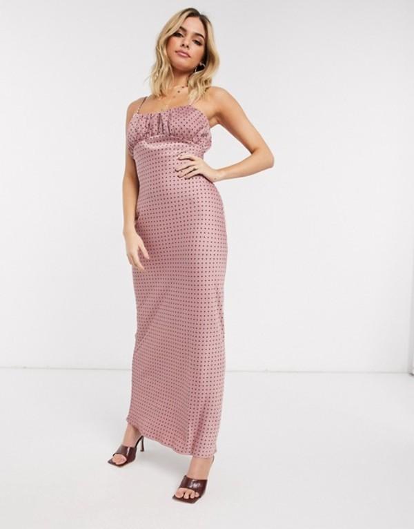 ユニークトゥエンティワン レディース ワンピース トップス Unique21 gathered bust midi dress in polka dot Lilac polka dot