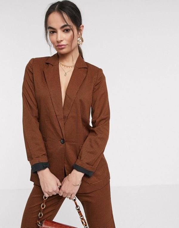 ヴィラ レディース ジャケット・ブルゾン アウター Vila suit blazer in brown Brown
