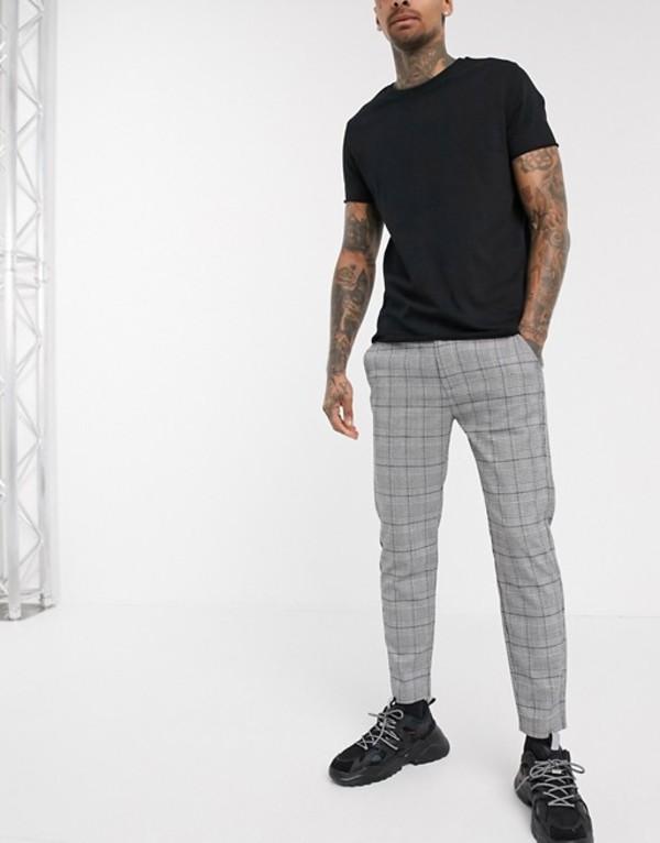 プルアンドベアー メンズ カジュアルパンツ ボトムス Pull&Bear check pants in skinny fit Gray