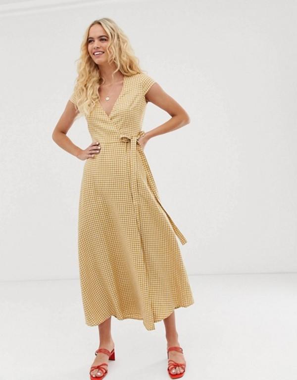 アンドアザーストーリーズ レディース ワンピース トップス & Other Stories linen midi wrap dress in yellow gingham Yellow gingham