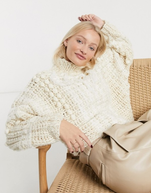 エイソス レディース ニット・セーター アウター ASOS DESIGN premium hand knit sweater with tassel detail Cream