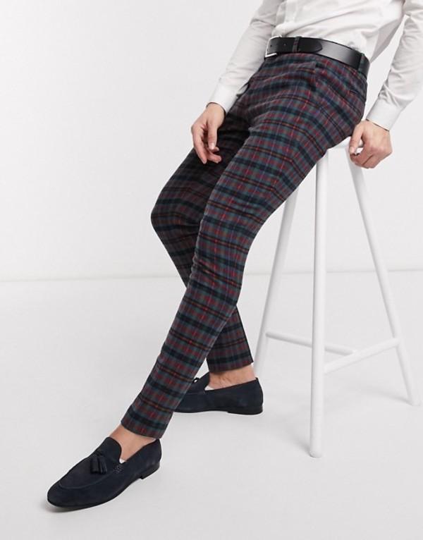 エイソス メンズ カジュアルパンツ ボトムス ASOS DESIGN super skinny smart pants in wool mix blue check Blue