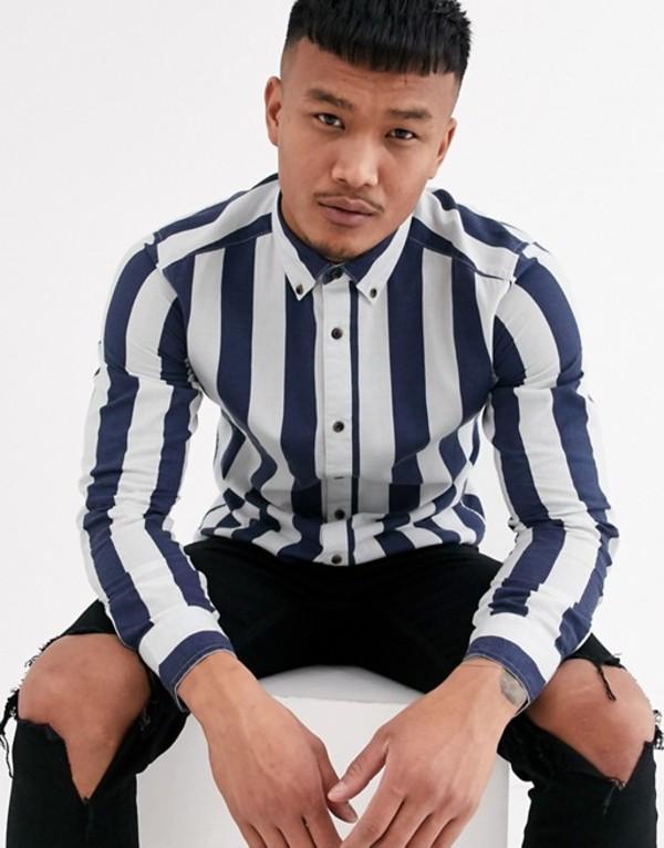 オンリーアンドサンズ メンズ シャツ トップス Only & Sons slim fit button down bold stripe shirt in blue Dress blues