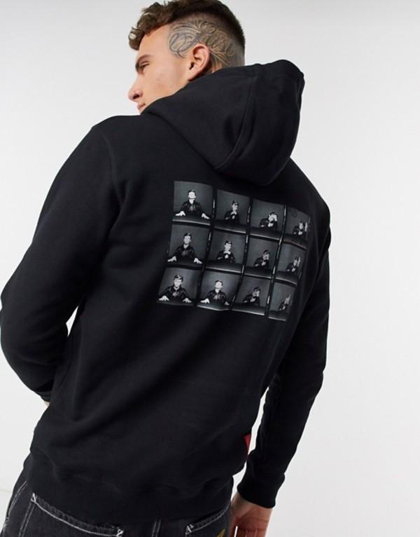 フューゴ メンズ パーカー・スウェット アウター HUGO X David Bowie Heroes back print hoodie in black Black