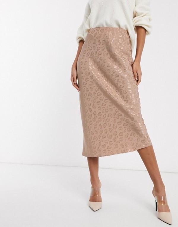 エイソス レディース スカート ボトムス ASOS DESIGN leopard jacquard bias midi skirt in pale pink Pale pink