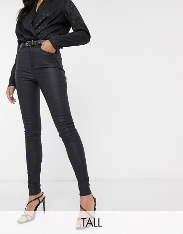 ニュールック レディース デニムパンツ ボトムス New Look Tall faux leather coated shaper skinny jean in black Black