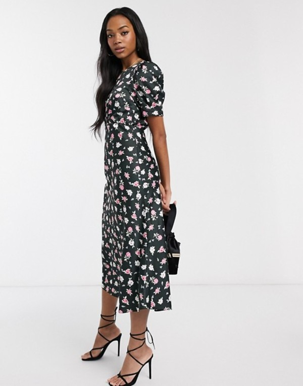 エイソス レディース ワンピース トップス ASOS DESIGN midi tea dress in black ditsy floral print Black based floral