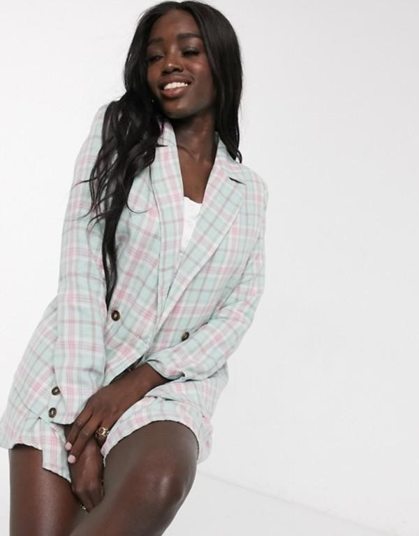 デイジーストリート レディース ジャケット・ブルゾン アウター Daisy Street oversized blazer in check two-piece Mint pink check