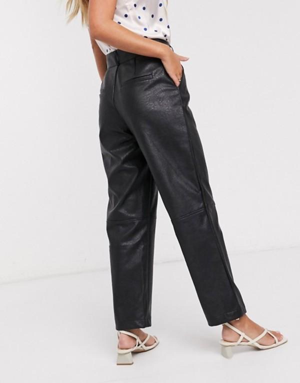 ヴィラ レディース カジュアルパンツ ボトムス Vila faux leather pants with high waist in black Black