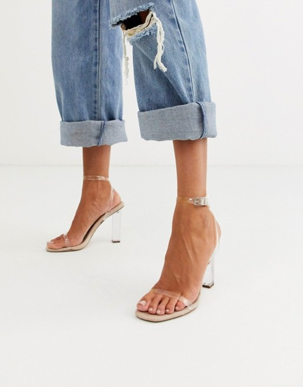 エイソス レディース ヒール シューズ ASOS DESIGN Hark clear barely there block heeled sandals Clear/ beige