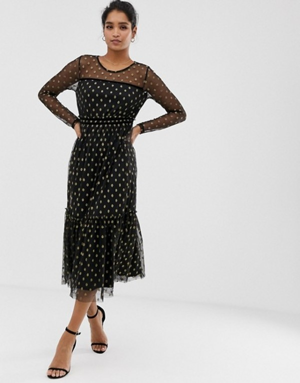 ヴィラ レディース ワンピース トップス Vila metallic spot midi dress Black w gold dots