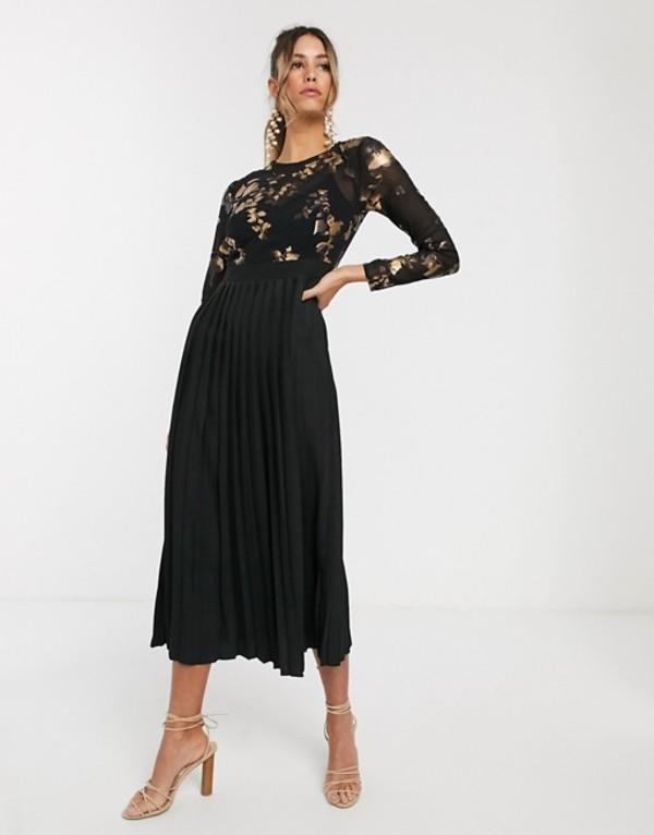 リトルミストレス レディース ワンピース トップス Little Mistress long sleeve embroidered midi skater dress Black