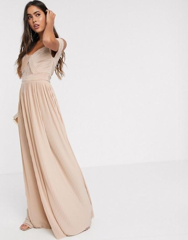 エイソス レディース ワンピース トップス ASOS DESIGN premium lace and pleat bardot maxi dress in champagne Champagne