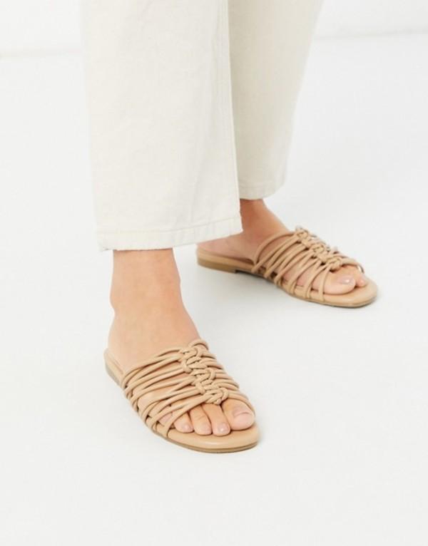 グラマラス レディース サンダル シューズ Glamorous flat sandals in beige Beige