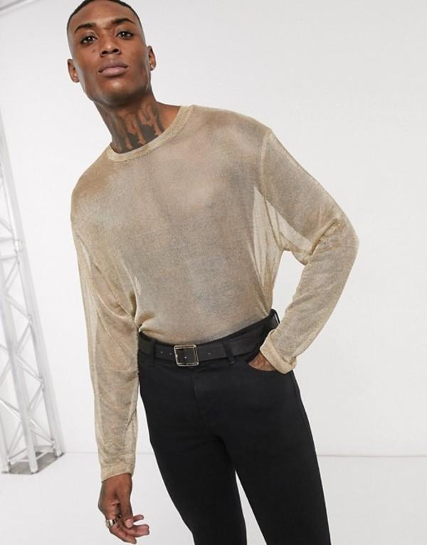 エイソス メンズ シャツ トップス ASOS EDITION relaxed long sleeve t-shirt in chainmail in gold Gold