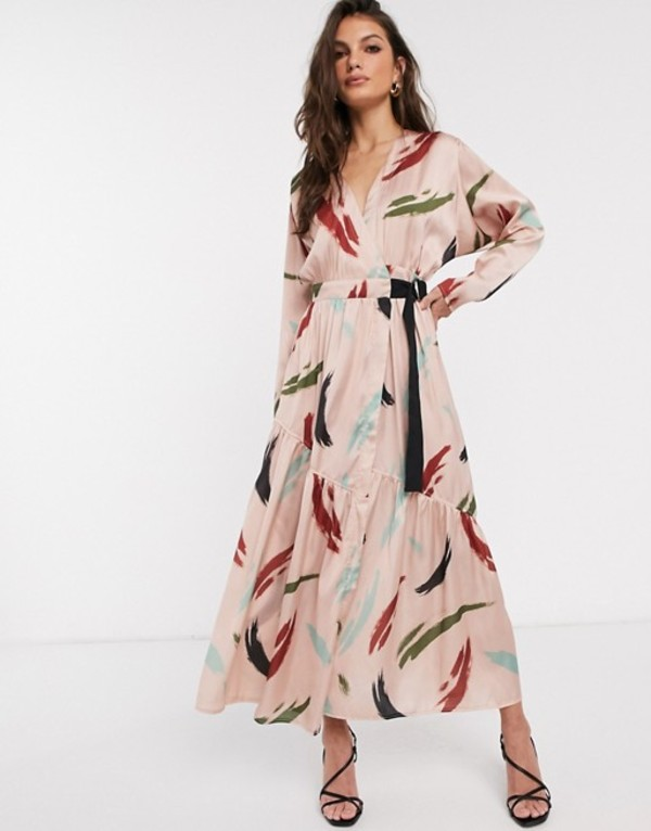 エイソス レディース ワンピース トップス ASOS DESIGN wrap maxi dress in contemporary print Contemporary print