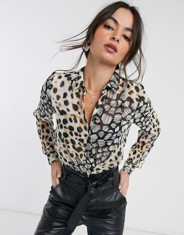 エイソス レディース シャツ トップス ASOS DESIGN long sleeve soft shirt in mixed animal scarf print Multi