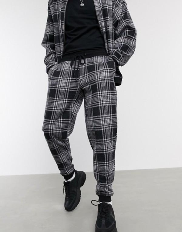エイソス メンズ カジュアルパンツ ボトムス ASOS DESIGN two-piece tapered fit sweatpants in check Multi