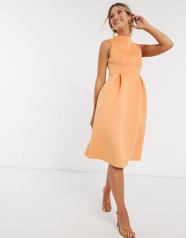 エイソス レディース ワンピース トップス ASOS DESIGN high neck sleeveless midi prom dress with lace up back Washed tangerine