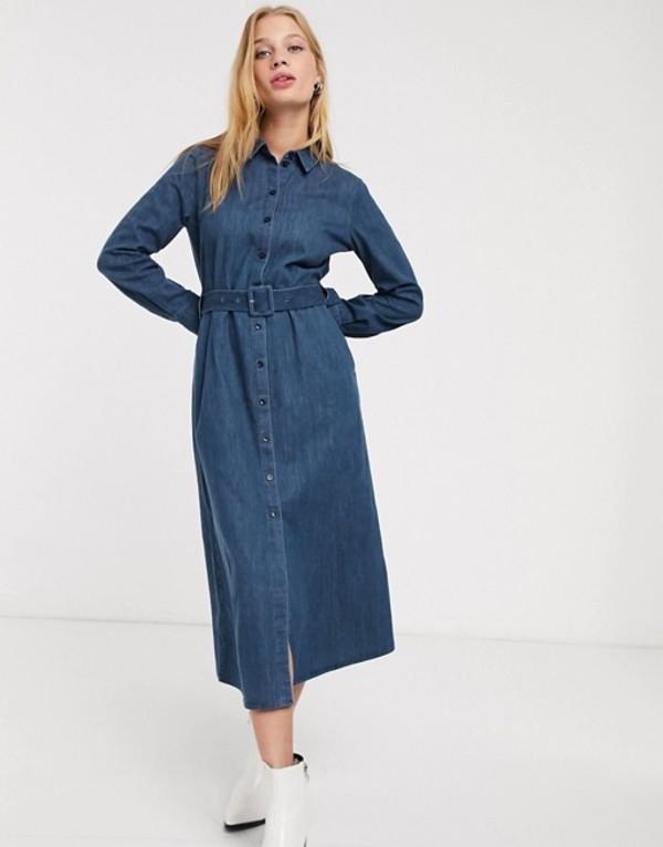 アンドアザーストーリーズ レディース ワンピース トップス & Other Stories denim button through belted shirt dress in blue Denim