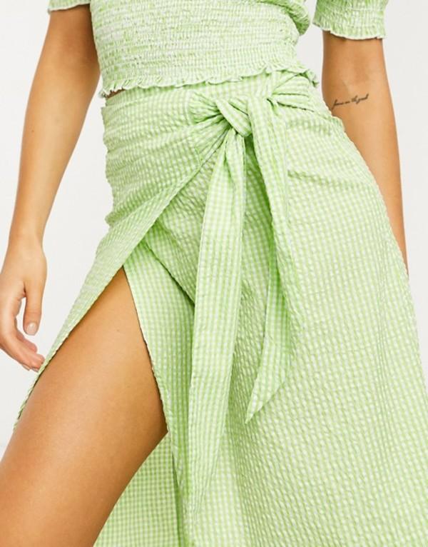 モンキ レディース スカート ボトムス Monki Gab check print wrap midi skirt in green Green check