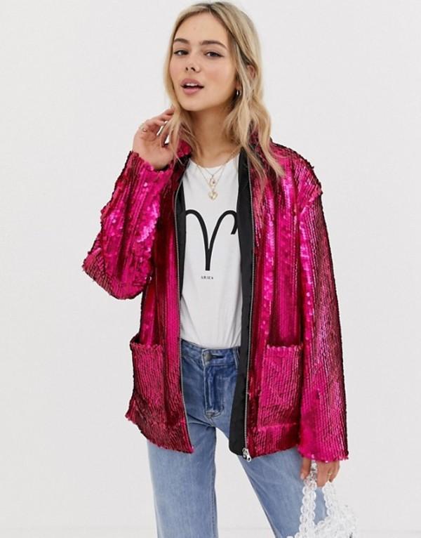 エイソス レディース ジャケット・ブルゾン アウター ASOS DESIGN Sequin Jacket Pink