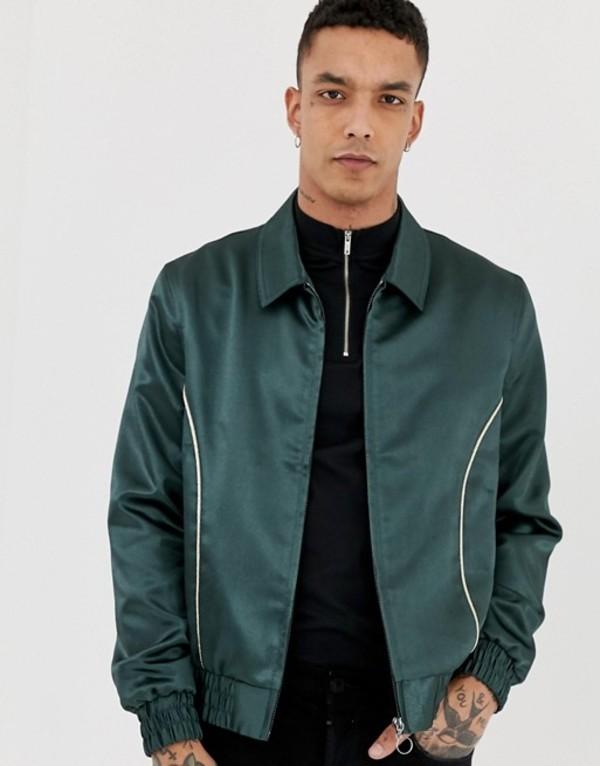 エイソス メンズ ジャケット・ブルゾン アウター ASOS DESIGN harrington jacket with piping detail Green