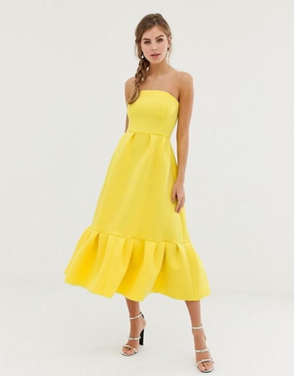 エイソス レディース ワンピース トップス ASOS DESIGN bandeau midi dress with ruffle pep hem Yellow
