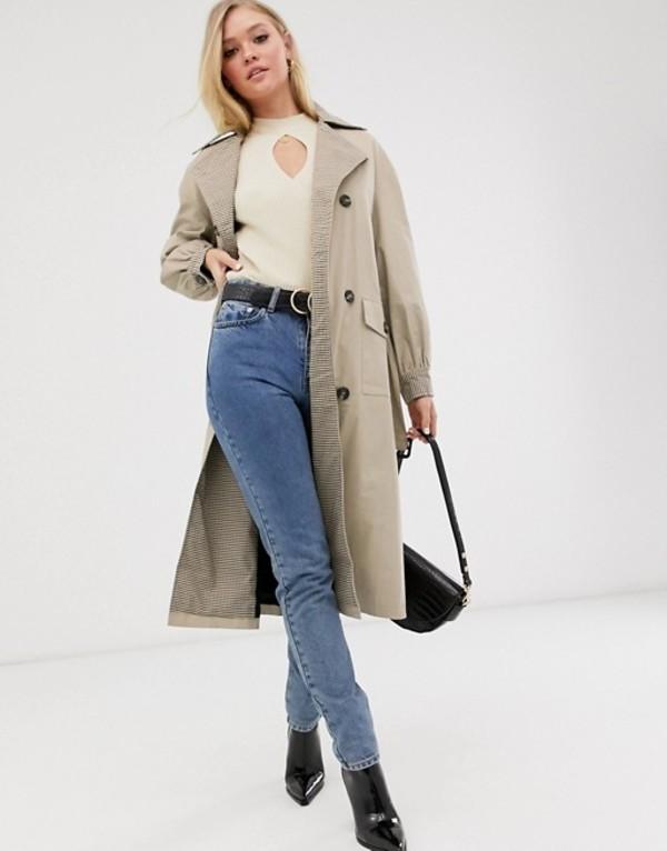 ネオンローズ レディース コート アウター Neon Rose oversized trench coat with check contrast collar Camel