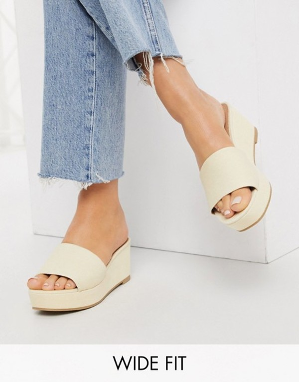 エイソス レディース サンダル シューズ ASOS DESIGN Wide Fit Tazlin demi wedges in cream denim Cream denim