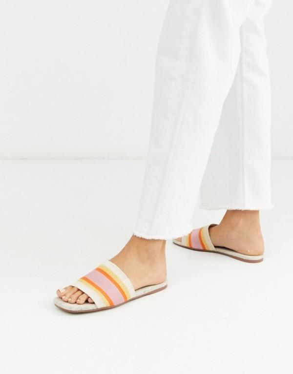 エイソス レディース サンダル シューズ ASOS DESIGN Fulham stripe mule sandals in natural Natural