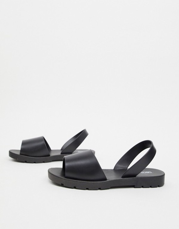 エイソス レディース サンダル シューズ ASOS DESIGN Finale jelly flat sandals in black Black