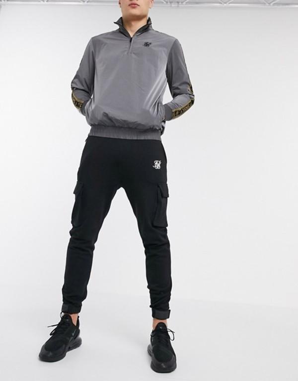 シックシルク メンズ カジュアルパンツ ボトムス SikSilk cargo sweatpants in black Black