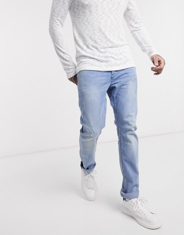 オンリーアンドサンズ メンズ デニムパンツ ボトムス Only & Sons slim fit abrasion jeans in light wash Blue denim